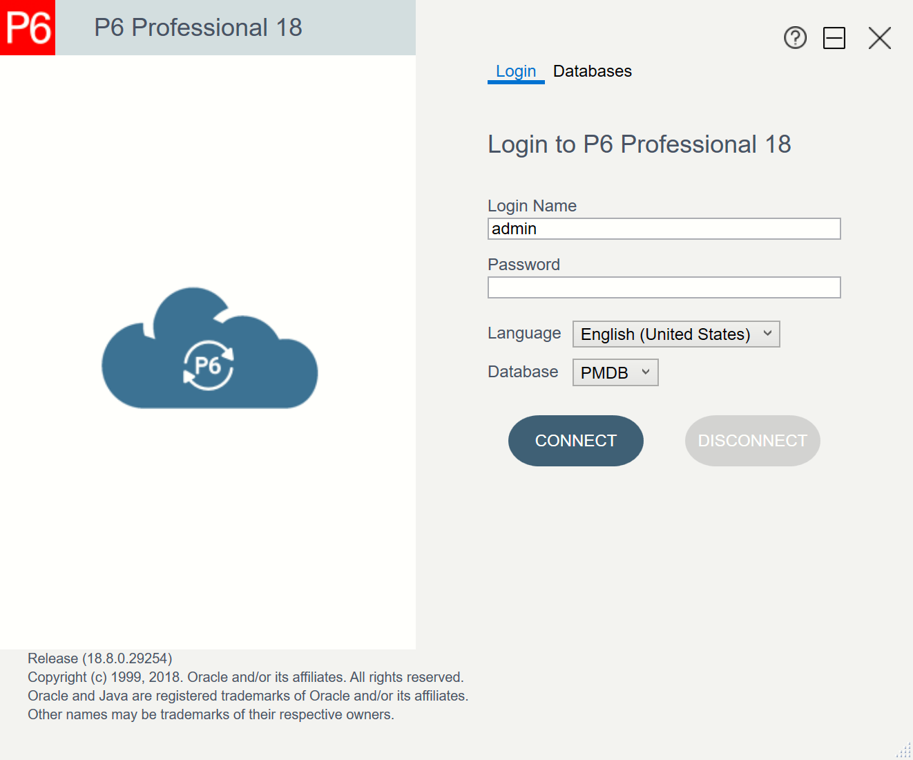 Oracle Primavera P6 Professional 18.8 Login