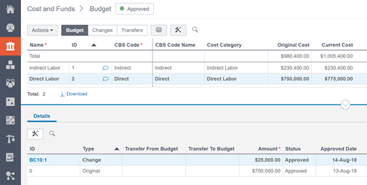 oracle prime cost sheet viewing budget changes