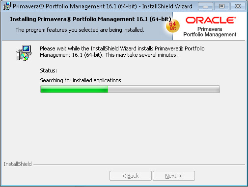 Oracle Portfolio Management install searching for installed applications