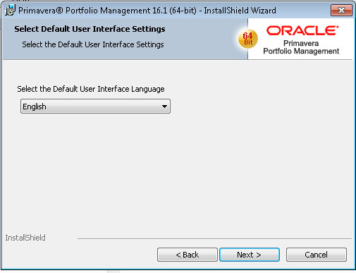 Oracle Portfolio Management Install User Interface Language Selection