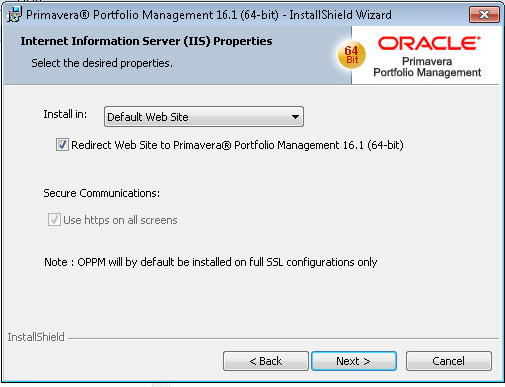 Oracle Portfolio Management Install Desired Properties Selection
