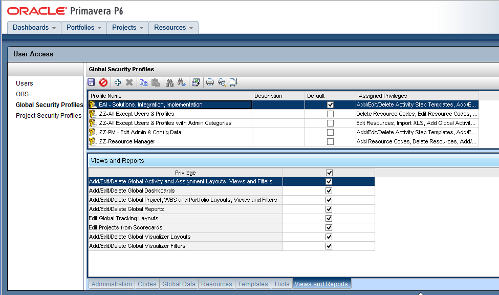 Import and Export Global Profiles and Project Profiles In Primavera P6